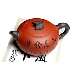 yixing purple teapot Australia - Chinese yixing zisha teapot handmade Purple sand carving Two-color bat lettering Teapot 380cc