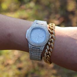 $enCountryForm.capitalKeyWord Australia - Fashion Luxury Men Full Iced Rhinestones Watches With 8inches CZ Cuban Bracelet Crystal Watch Drop Shipping