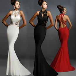 black lace fishtail evening dress Australia - Women's European and American high-end fishtail lace evening dress sexy applique sleeveless halter dress slim dress