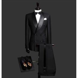 Tie For Gray Suit NZ - Custom Made Slim Fit Black 2 Piece Mens Blazer Double Breasted Suit Men Wedding Suits Groom Tuxedos For Men (Jacket+Pants+Tie)