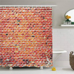 Decorative Wall Curtains Australia - Rustic Home Decor Shower Curtain, Brick Wall with Decorative Bricks Grunge Style Rampart Pattern, Fabric Bathroom Decor Set with Hooks