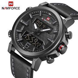 Mens Military Wrist Watches Australia - Naviforce Mens Sports Watches Men Quartz Led Digital Clock Top Brand Luxury Male Fashion Leather Waterproof Military Wrist Watch Y19051603