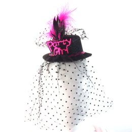 party sexy clip UK - 2020 new Black Mini top party hat on hair clips sexy dot veil wedding event bride to be feather facinator decoration hen party