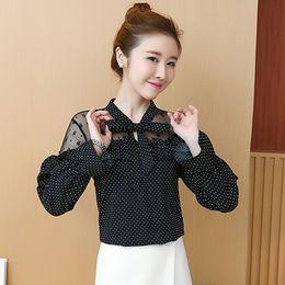 cc95553d3bf Women Blouse Shirts Office Lady Dot Blouse Plus Size Fashion Korean Lace  Print Shirts and Tops Female Chiffon Hollow Out Blouses