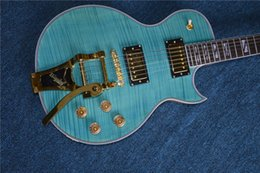 Flamed Fingerboard online shopping - New standard Rosewood Fingerboard LP standard custom electric guitar with Flame Maple Top JAZZ electric guitar blue color