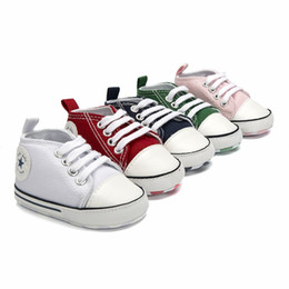 8e1b1cc9ee615 2018 Designer Baby Shoes Lace-Up Canvas 0-24 month Brand Girls Boys Shoes  start Comfortable Girls Baby Kids Toddler Shoes S310