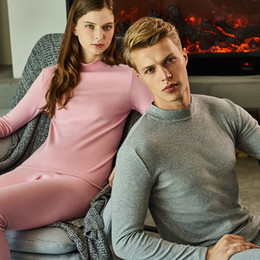 invisible suits NZ - Underwear Winter Mens Womens Warm Thermal Set Winter Bottoms Half High Collar Undershirts Thick Invisible Roupa