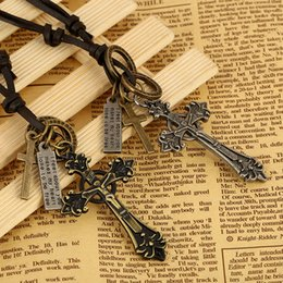 Buy Necklaces Australia - European and American popular leather cross pendant necklace, cowhide necklace, alloy cross two colors optional! Welcome to buy!