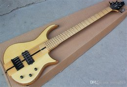 Wholesale t guitars for sale – custom Special natural wood color partition electric bass guitar with ASH body maple collar strings products can be customized according t