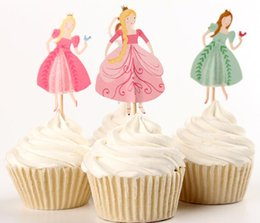Discount mermaid cupcake toppers - Creative Cupcake Topper for Girls Birthday Mermaid Princess Ballet Dancer Printed Cake Topper Baby Shower Party Decorati