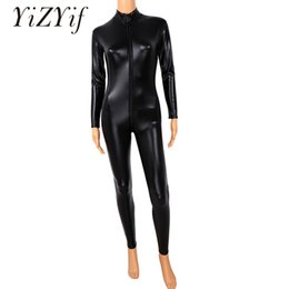 Body Suits Adults Australia - YiZYiF Zentai Costumes Sexy Women Full Body Cosplay Clothes Skin Suit Catsuit Adult Bodysuit Patent Leather Open Crotch & Chest