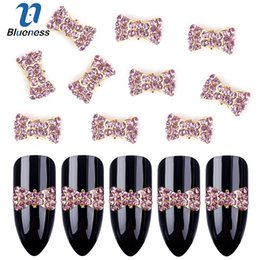 $enCountryForm.capitalKeyWord Australia - art decorations Blueness 10Pcs Pink Rhinestones Bow Design Nails Studs Supplies 3D Alloy Tie Strass Nail Art Decorations