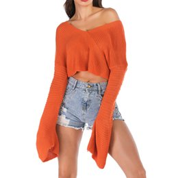 $enCountryForm.capitalKeyWord NZ - Sweater Women Sexy Pullover Solid Knitted Sweater Long Sleeve V-Neck Short Crop Tops Jumper Sueter Mujer Invierno 2019