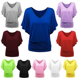 d5ccf807bd6 Women Loose Bat-sleeved V-neck Blouse Ladies Stylish short sleeved T-shirt  large size Casual Tops 10 colors LJJW232