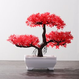 potted rose plants UK - 1 PC Colorful Welcoming Pine Desktop Ornament Rose Fake Plants Simulation Bonsai Artificial Potted Plastic Flowers