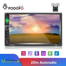 "gps android 2din Australia - Podofo 2Din Android 7 "" Car DVD Stereo Radio GPS Navigation WiFi Auto Radio Bluetooth Video MP5 Player + 8 IR Rear View Camera"