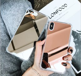 Discount acrylic mirror phone case - Luxury Acrylic Mirror Phone Cases Airbag Anti-Falling Back Cover Shockproof Protector for iPhone X XR XS Max 6 6s 6plus