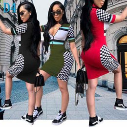 Skinny black Short dreSS online shopping - Womens Designer Dress Sexy Zipper V neck Dresses Fashion Party Style Plaid Skinny Clothes Casual Striped Bodycon for Ladies SummerD4