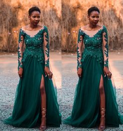 nigerian bridesmaids champagne gold lace dresses UK - Sexy Hunter Green Saudi Arabic Prom Formal Dresses Evening Gowns Long Sleeves Lace Sequins Sheer Neck Nigerian Arabic Bridesmaid Dresses
