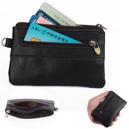 Money chain business online shopping - Casual Black Zipper Coin Purses Women Men Genuine Leather Mini Card Holder Wallet Pouches Fashion Cowhide Money Pocket Purse New