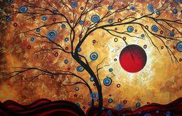 $enCountryForm.capitalKeyWord Australia - Abstract Apple Tree with Red Sun Art Silk Print Poster 24x36inch(60x90cm) 088