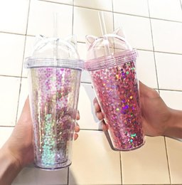 cute tumblers NZ - 2019 New Cat Ear Flashing Double Cup Kids Baby Cartoon Cute Creative Sequins Plastic Tumbler with Straws Juice Wine Glass