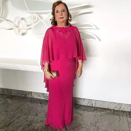 Plus Size Cheap Mother Bride Dress Australia - Elegant Fuchsia Mother Of The Bride Dresses With Removeable Cape Cheap Long Chiffon Wedding Guest Gowns Groom Mothers Formal Wear Plus Size