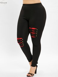 Rip leggings online shopping - Polyester Fashions Leggings New Plus Size Plaid Ripped Panel Casual Mid Elastic Waist Straight Pencil Pants Fitted Women Leggings