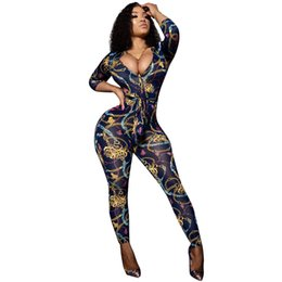 $enCountryForm.capitalKeyWord NZ - Gold Chain Printed Bodycon Jumpsuit for Women 2018 Autumn Deep V Neck Sexy Overalls Long Pants Rompers Womens Catsuit with Belt