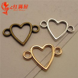 $enCountryForm.capitalKeyWord Australia - 100pcs 17*24MM Antique silver hollow heart connector charms bronze gold hollowed out heart pendants bracelet jewelry making