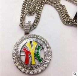 Hip Hop NY Buchstaben drehen Runde Halskette Edelstahl Gold Silber Farbe Punk Tier Löwenkopf Anhänger Halskette für Männer Schmuck