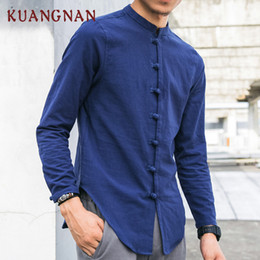 $enCountryForm.capitalKeyWord NZ - KUANGNAN Men Linen Shirts Long Sleeve Chinese Style Mandarin Collar Traditional Kung Fu Tang Casual Social Shirt Brand Clothing