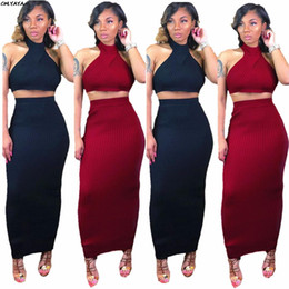 34a0aa47a2 2019 new women outfit knitted sleeveless crop top bodycon maxi midi skirts  suit 2pcs set sexy long dress pencil tracksuit L5043