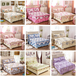 green floral full bedding set 2019 - Flower Fit Bed Skirt Warm Thickening Sanding Quilted Bedskirt Bedding Set Cotton Bed Linen Floral Cover Pillowcase 1 2 3