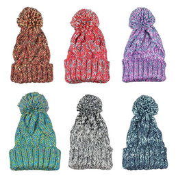 $enCountryForm.capitalKeyWord NZ - Women Winter Thicken Braided Knitted Hat Candy Color Colorful Crochet Warm Cuffed Baggy Beanie Cap With Cute Large Pompom ball