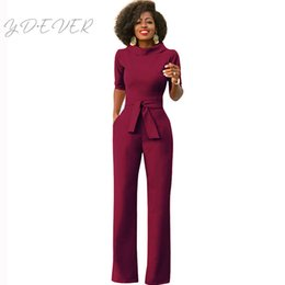 a6c93ce7aaa Elegant Office Work Wear Business Formal Jumpsuits 2019 Women Half Sleeve  Pockets Wide Leg Pants Romper Fashion Overalls Sashes