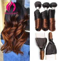 natural spiral curl hair extensions Australia - Brazilian Funmi Hair Curly Weave Spring Curl Human Hair 4Bundles with Free Part Closure 7a Spiral Curl Loose Weave Human Hair Extension 100g