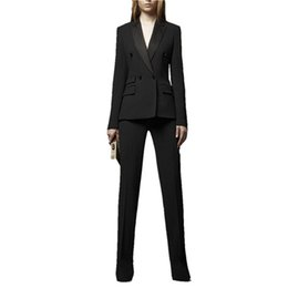 Women Wearing Double Breasted Suit Australia - New Female Black Pants Suits Double breasted Peak lapel Bespoke Women Business Suits Office Jacket And Pants Work Wear