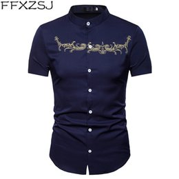 Shirts Stand Up Collars Australia - FFXZSJ Brand 2019 high quality Men's short sleeve shirts with stand-up collars in summer Embroidered shirt of European size