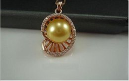 Discount genuine south sea pearl pendant - NEW HUGE AAA 12MM SOUTH SEA GENUINE GOLD STUD PEARL PENDANT NECKLACE