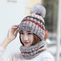 5c36c11fc3e New women Winter Keep Warm skullies Scarves   Hat Sets female girls Beanie  Hat Scarf Sets Fleece Plush Knit Thermal Snow Ski Cap