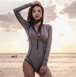 8fb10c63da Hot One Piece Vintage Swimwear Long Sleeve Bathing Suit rush guard bikini women  sexy swimsuit snorkeling wear suit korean style