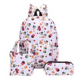 $enCountryForm.capitalKeyWord NZ - 3Pcs Backpacks+Hand Bag+Pen Bag for Girl Student new arrival candy Pattern Canvas School patchwork bags for women 2019