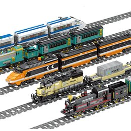kazi blocks Australia - KAZI Battery Powered Electric Classic City Train Rail Building Blocks Bricks Christmas Gift Toys For Children Boys Girls