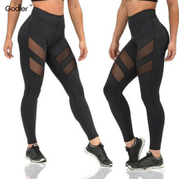 967bf683aa223 Godier Net Yarn Patchwork Ladie Elastic Hollow Push Up Women High Waist Black  Pants Transparent Sexy Leggings Jc0048 Y190603