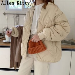 warm long stylish coats women Australia - Alien Kitty Winter Fashion Outwear Casual Jackets Solid Tops All-Match Simple Fresh Stylish Warm Women Coat Loose Thicken V191014
