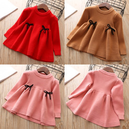 Cotton Pullover Wholesale NZ - Baby Girls Pullover Skirt Girls Autumn Winter Clothes Children Toddler Tops Shirts Kids Princess Cotton Christmas Dresses