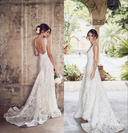 Summer beach wedding dreSSeS online shopping - Newest Full Lace A line Wedding Dresses Sexy Backless V Neck Beach Bohemian Boho Plus Size Bridal Gown