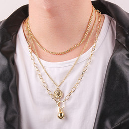 multi layer necklace european fashion 2019 - European and American style clavicle chain multi-layer round bead pendant necklace men and women punk fashion necklace c