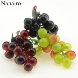 plastic grapes home decor UK - High Quality30pcs  Lot Artificial Fruit Grapes Plastic Fake Decorative Fruit Lifelike Home Wedding Party Garden Decor Mini Simulation Fruit